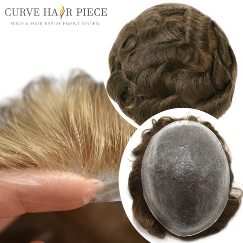 Curve Hairpiece 0.03mm Non Surgical Ultra Thin Skin Men's Stock Hair Systems,Glue On Disposable Micro Skin Mens Human Hair Toupee,6'' Slight Wave Hair