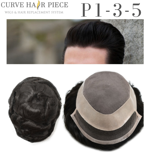 Curve Hairpiece Human Hair Fine Mono Mens Toupee Durable Hair System Hairpiece Medium Density Wigs P1-3-5