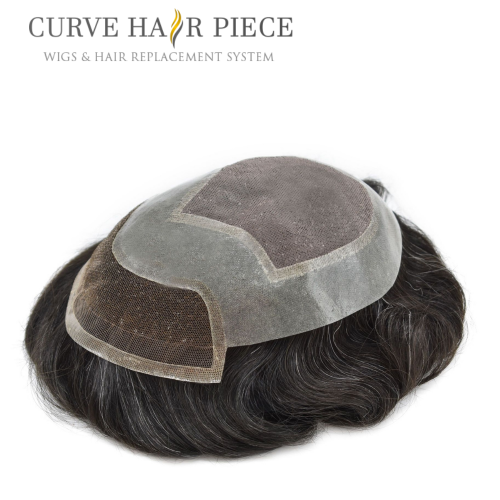 Curve Hairpiece Non Surgical Hair Piece Fine Mono Mens Hair System Lace Front Hair System Cost Durable Hair System Best Mens Hair Toupee P2-3-9
