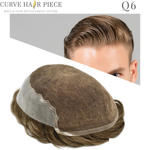 Curve Hairpiece French Lace Mens Toupee Men's Stock Hair Systems Thin Skin Hair System Mens Hair Pieces Non Surgical Hair Transplant Q6