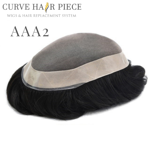 Curve Hairpiece Fine Mono Mens Hair System Durable 1'' Poly Coating Human Hair System Wig Hairpiece For Men AAA2
