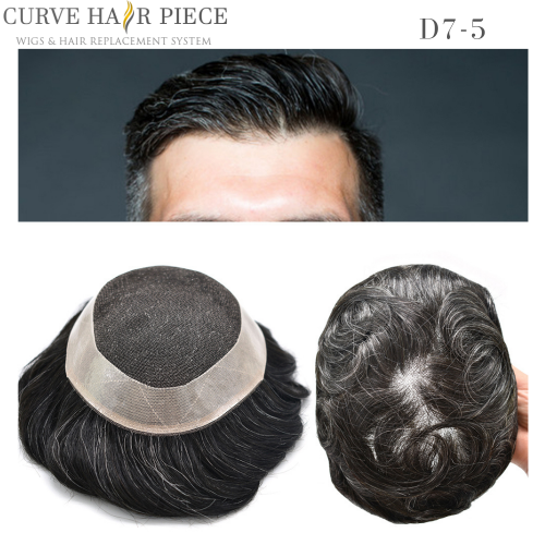 Curve Hairpiece Non Surgical Men's Stock French Lace  Hair Transplant System, 6'' Slight Wave Men's Toupee Hair Pieces For Sale