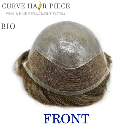 Mens Toupee Hair Replacement System Bleach Knot Natural Hairline Hairpiece Thin Skin Black Human Hair Poly Toupee