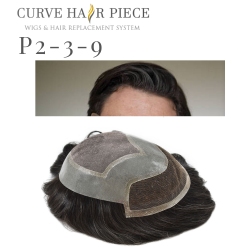 Curve Hairpiece Fine Mono Mens Hair System Lace Front Toupee Durable 100% Human Hair System Natural Hairline Replacement For Men P2-3-9