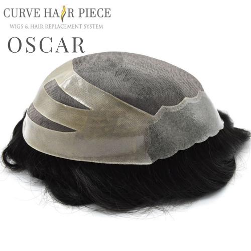 Curve Hairpiece Fine Mono Mens Hair System Durable Hairpiece Poly Coating Black Human Toupee Oscar