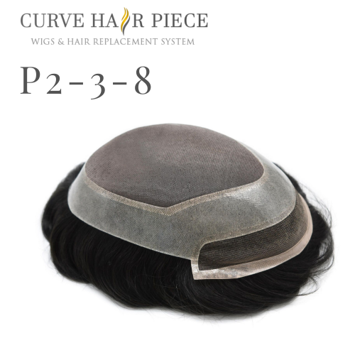 Curve Hairpiece Durable Fine Mono Men's Hair System 100% Human Hair Lace Front Men's Toupee Natural Hairline Men's Hairpiece P2-3-8