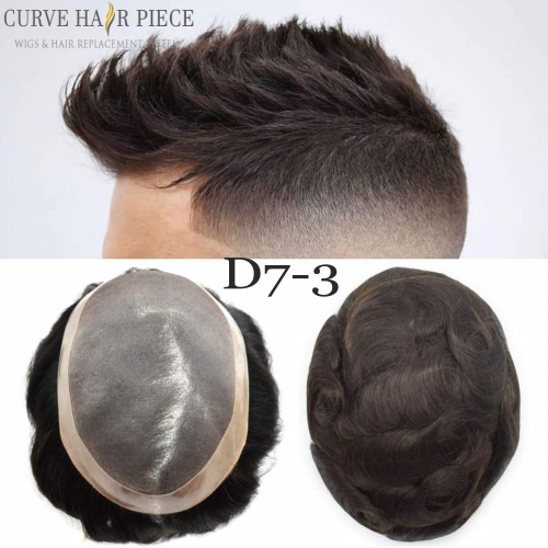 Curve Hairpiece Durable Fine Mono Mens Human Hair Pieces For Sale, Easy Wear Poly Coated Around Non Surgical Pernament Stock Hair Replacement System