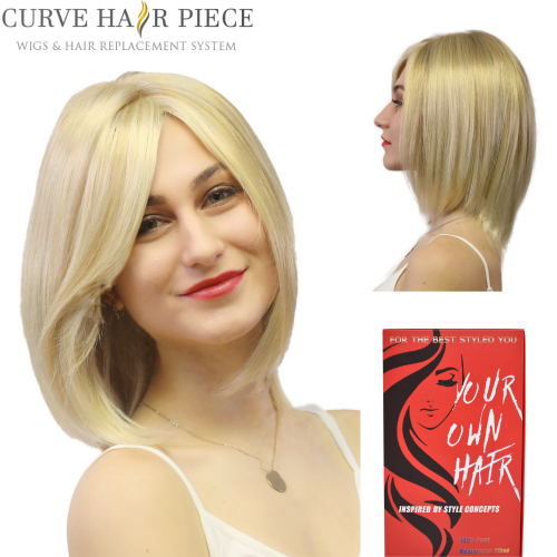 Curve Hairpiece Kanekalon Synthetic Mono top Wigs Full Cap Bob Shoulder-length Straight Hair Wig Natural Looking Brown Blonde Color Wig 2525