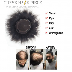 Curve Hairpiece Human Hair Clip In Topper Full Hand Made For Men's. Breathable & Comfortable Replacement System A7