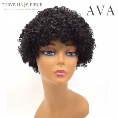 Curve Hairpiece US Women Afro Wig With Bangs Human Hair Kinky Curly Natural Black Lady Hairpiece 9 inches 100% Human Hair AVA
