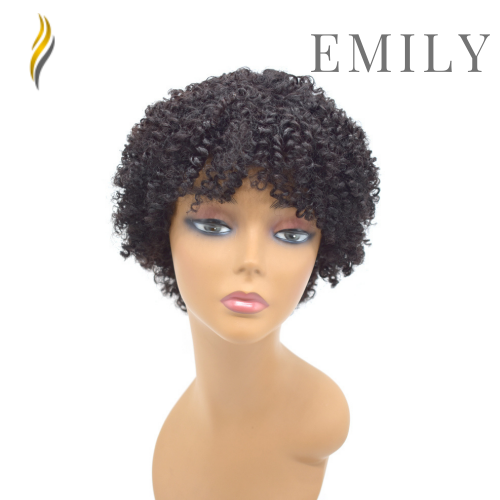 Curve Hairpiece Human Hair Afro Kinky Curly Full Cap Wig For Black Women Fashionable Off Black 8 Inches Soft Breathable Comfortable Hairpiece JMHO34