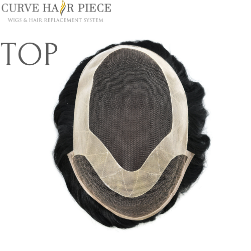 Curve Hairpiece French lace Mens Human Hairpiece Human hair Replacement  Male Hair Pieces Near Me P1-4-8