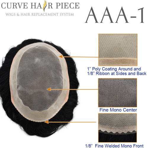 Curve Hairpiece Fine Mono Hair System Durable Male Toupee Hair Units For Men Non Surgical Hair System Best Mens Hair System in the World AAA1